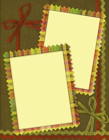 seams: frame for two photos in scrapbook style Stock Photo