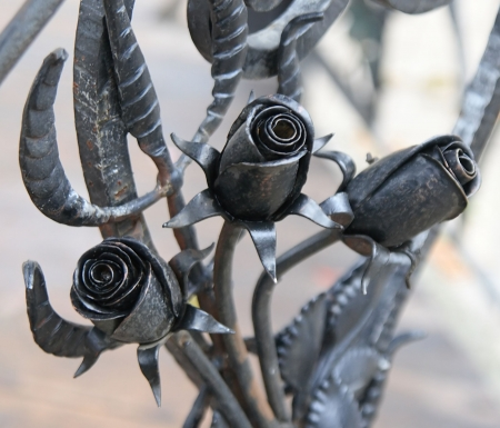 wrought: metal forged roses Stock Photo