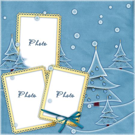 Blue sewed Christmas frame photo