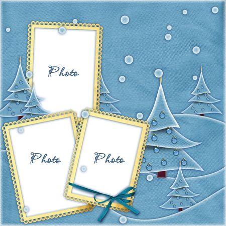 ice slide: Blue sewed Christmas frame