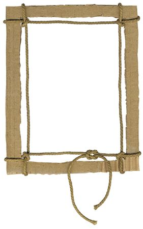 Cardboard frame for photo with a rope