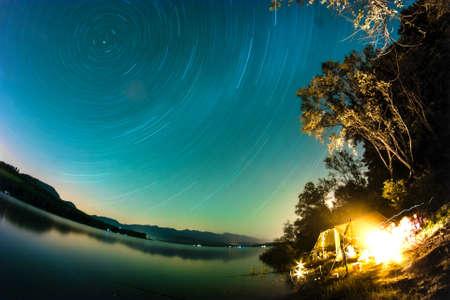 the mara: Star Trails over Lake Liptovska Mara, Slovakia