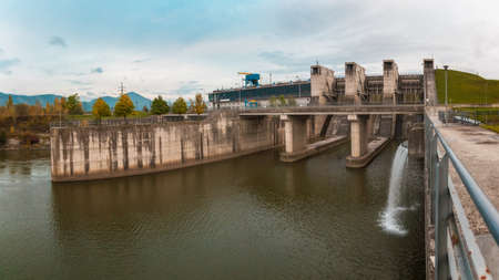 hydroelectric power station: Dam of Hydroelectric Power Station near Zilina, Slovakia Stock Photo