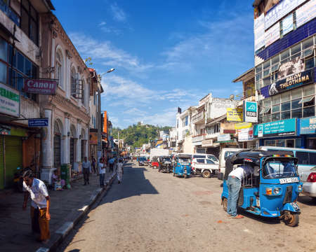kandy: Kandy, Sri Lanka - January 6th 2016: Busy Street in Downtown Kandy, the Second Largest City and the Cultural Capital of Sri Lanka.