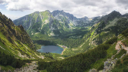 Glacial Lake Popradske Pleso in High Tatras National Park, Slovakia