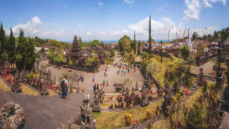 holiest: Besakih, Bali, Indonesia - September 18th, 2014: The Largest, Most Important and Holiest Hindu Temple Complex Build under the Slopes of Highest Mountain on Bali Island - Mount Agung.