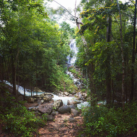 Phaeng Noi Waterfall in the Jungle on Koh Phangan Island, Thailand