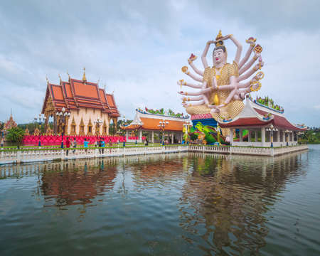 Koh Samui, Thailand - Januar 1st 2017: The Statue of Chao Mae Kuan Im or Guanyin, the Goddess of Mercy, in Wat Plai Leam Buddhist Temple (Samui Floating Temple) built in Early 2000s. Editorial