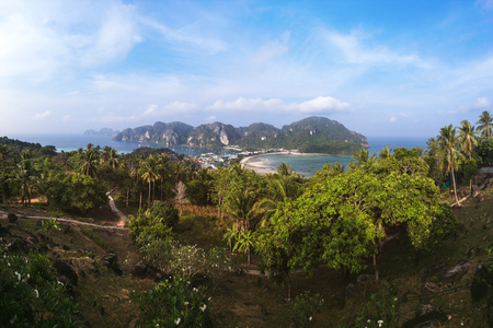 View of Ko Phi Phi Don and Ko Phi Phi Lee Island from the Hill above Ton Sai Town, Krabi Province, Thailand