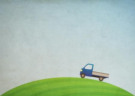 Grunge nature illustration with car Stock Illustration - 8784527