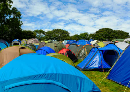 campsite: Rows of tents at the campsite -