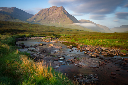 glencoe: Morning light over Creise at the northern end of Glencoe with the River etive in the foregraound