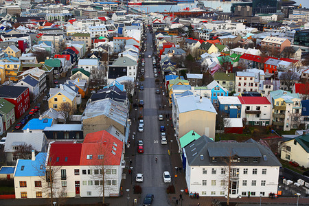 Aerial view of colorful Reykjavik Iceland