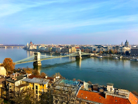 Aerial view of Budapest Chain Bridge and Danube River