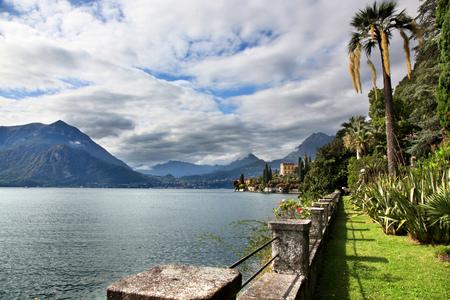 View of Lake Como from villa gardens