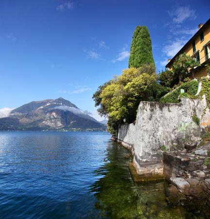 View along the seawall of Lake Como Italy