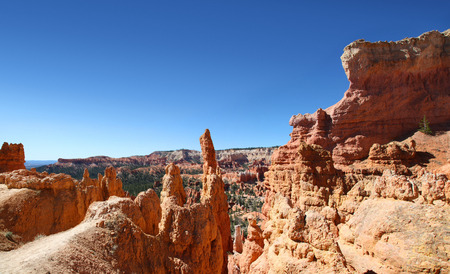 Panoramic view of the hoodoo landscape of Navajo Loop trail in Bryce Canyon National park