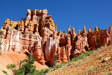 Pink and White striped Hoodoos in Bryce Canyon National Park