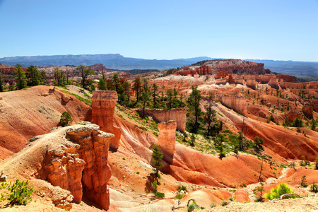 Panoramic view of Bryce Canyon landscapes along Queens Trail