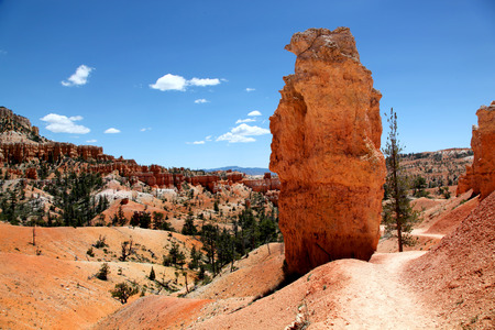 Hiking trail between two giant Hoodoo rocks in Bryce Canyon National Park