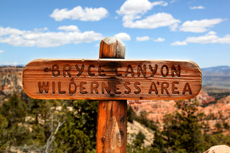 Wooden trail marker in Bryce Canyon National Park