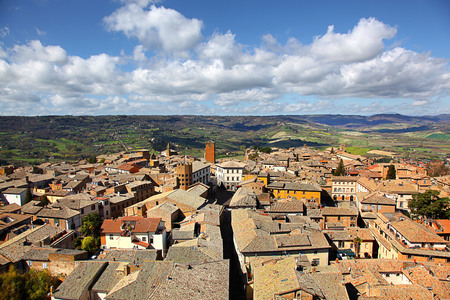 Aerial view of the rooftops of Orvieto Italy