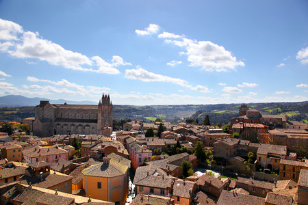Aerial view of the Duomo Cathedral and rooftops of Orvieto