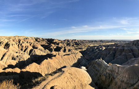 Panoramic view of the landscape of Badlands National Park