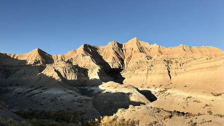 Panoramic view of the dramatic landscapes of Badlands National Park 版權商用圖片