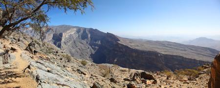 Panoramic view of Jebel Shams Canyon in Oman 版權商用圖片