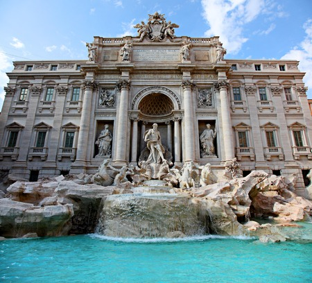 Famous Trevi Fountain in Rome Italy