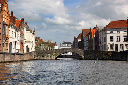 Charming Canal and Bridge in Bruges Belgium