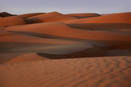 Red sand dunes of the Oman desert at sunset