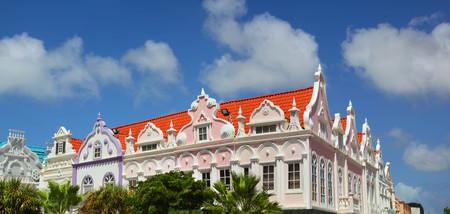 Candy colored buildings of Oranjestad Aruba