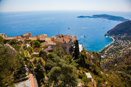 Aerial view of the mediterranean from the charming hilltop town of Eze France