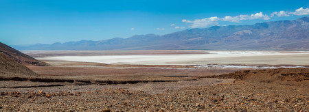 Panoramic view of the Bad Water Basin and salt flats in Death Valley National Park