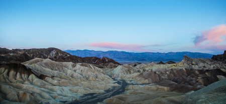 Panoramic view of Zabriskie Point in Death Valley National Park at sunrise