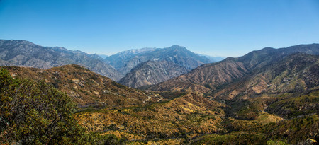 Panoramic view of the mountainous landscape of Kings Canyon National Park California