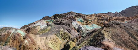 Panoramic view of the natural colors of Artist's Palette in Death Valley National Park