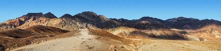 Panoramic view of the sunlight and shadows on the mountain peaks of Death Valley National Park