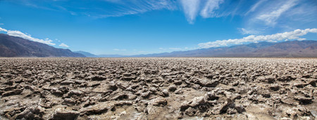 Panoramic view of the Devils Golf Course salt formation in Death Valley National Park 版權商用圖片
