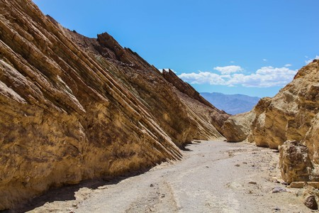 View down Golden Canyon Trail to mountains in the distance in Death Valley National Park