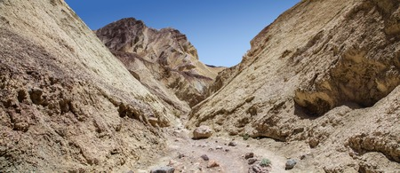 Panoramic of Golden Canyon Trail in Death Valley National Park 版權商用圖片