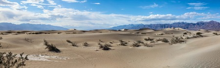 Panoramic view of the Mesquite Flat Sand Dunes in Death Valley National Park 写真素材