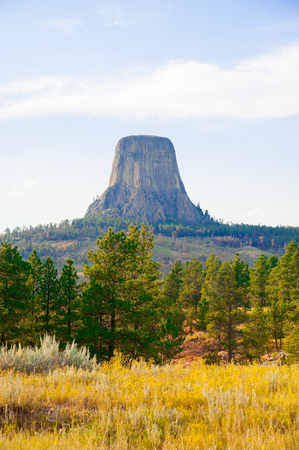 Devils Tower is located in in Crook County, northeastern Wyoming. Also, known as United States National Monument. Stockfoto