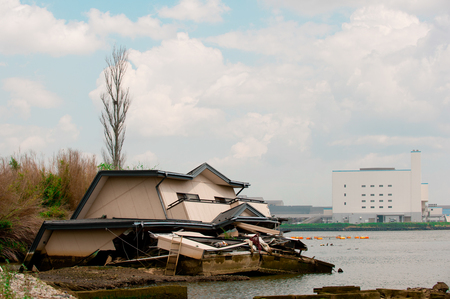 House after Fukushima Tsunami Disaster in Ishinomaki, Japan. Fukushima Tsunami disaster happened on March 11 in 2011. Editorial
