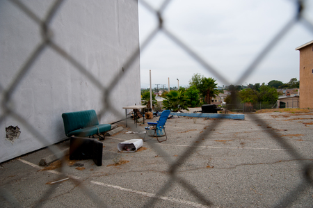 Sofa and chair for hanging out on the street of Los Angels, America. In California, there is still oil resources from the underground of United States.