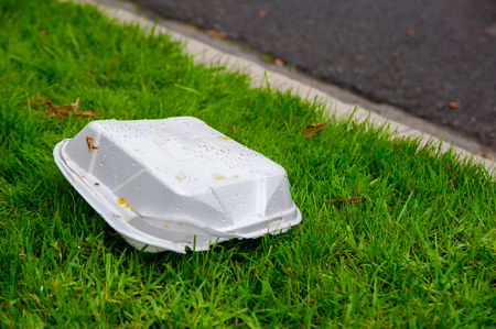 Take away box on the street of Los Angels, America. In California, there is still oil resources from the underground of United States. Standard-Bild - 98587896