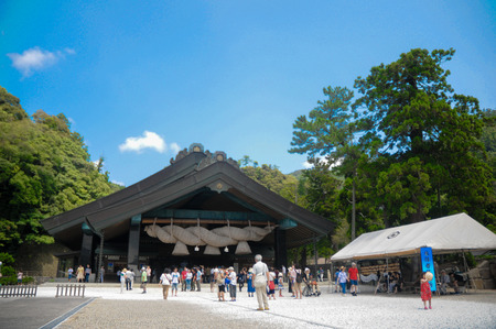 Izumo Taisha Shrine in Shimane, Japan. To pray, Japanese people usually clap their hands 2 times, but for this shrine with the different rule, they have to clap hands 4 times instead. Editorial
