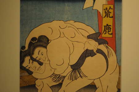 Japanese Sumo Wrestling Artwork on Display. Sumo Wrestling is categorized Japan's national sport same as Judo. Editoriali